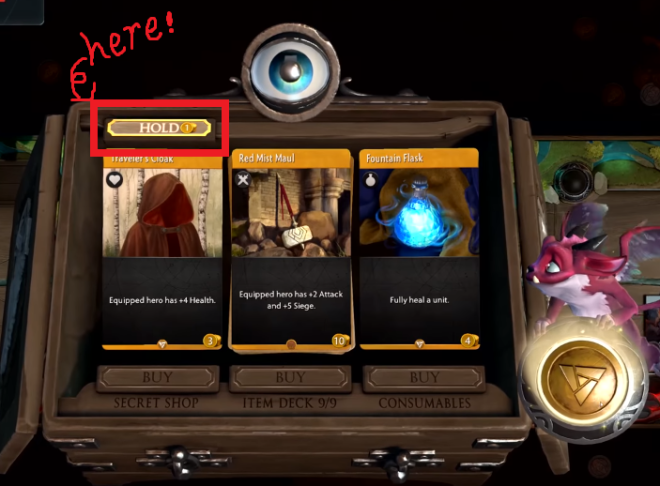 "Artifact: General - What does the button ""hold"" do in the shopping phase? image 1"