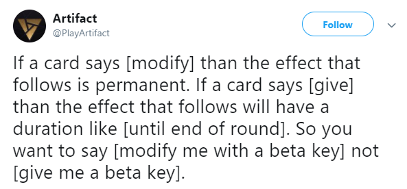 Artifact: General - 'Modify' is permanent while 'give' is not image 1