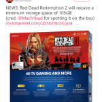 You need 105gb of free space on your console. Be prepared for RDR 2 everyone.