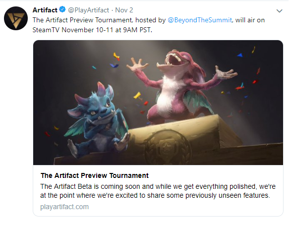 Artifact: General - Anyone planning to watch The Artifact Preview Tournament? image 1