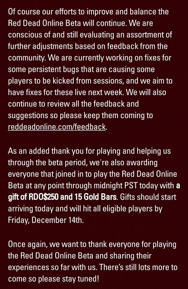 Red Dead Redemption: General - Red Dead Online Beta Week 1 Update image 3