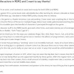 RDR2/GTAV Actor's Thank You Note on Reddit