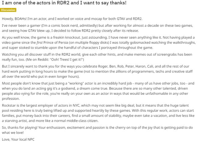 Red Dead Redemption: General - RDR2/GTAV Actor's Thank You Note on Reddit image 1