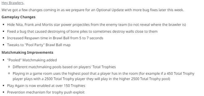 Brawl Stars: General - Brawl Stars Upcoming Patch Notes image 1