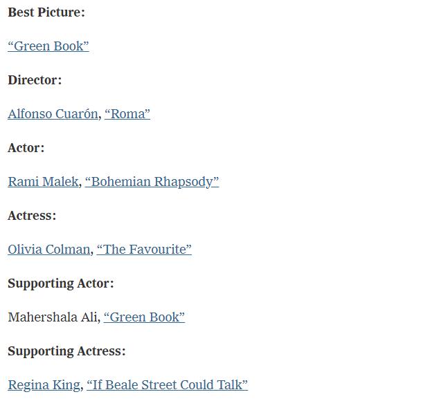Entertainment: Movies - 2019 Oscar Winners image 3