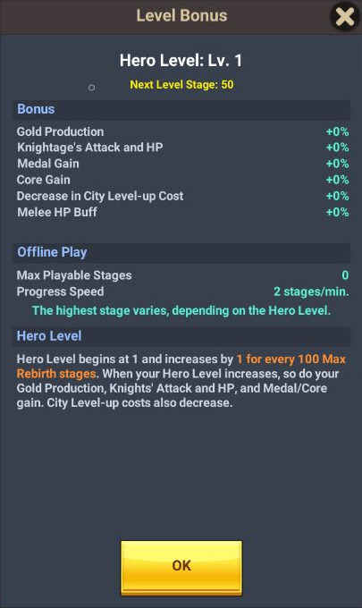 60 Seconds Hero: Idle RPG: FAQ's & Guides - [System] [Hero Level Up] How to Level Up and What do you Get from it? image 6