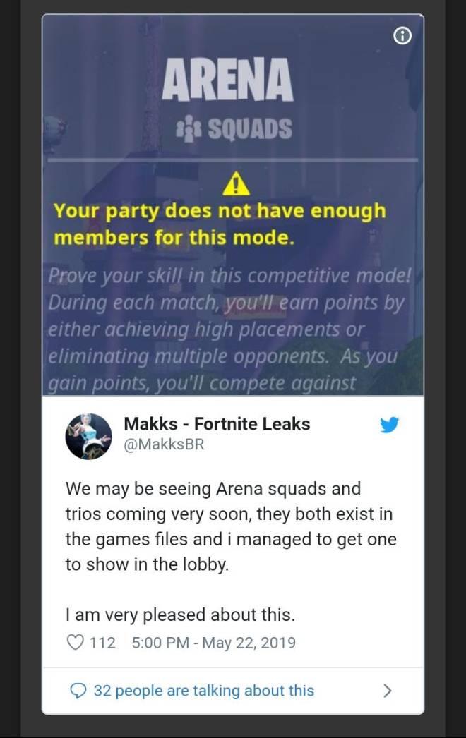 Fortnite: Battle Royale - Leak: Fortlite LTM and Arena Squads/Trios Coming to Fortnite image 5