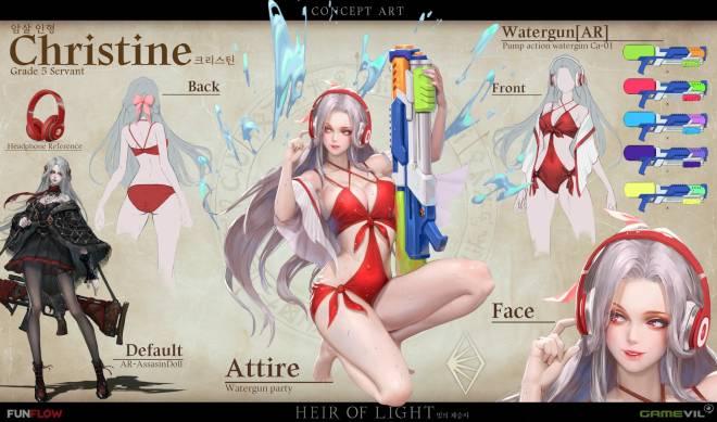 HEIR OF LIGHT: HoL 5★ Servant Concept Art - Christine Concept & Swim Suit Avatar Art image 4