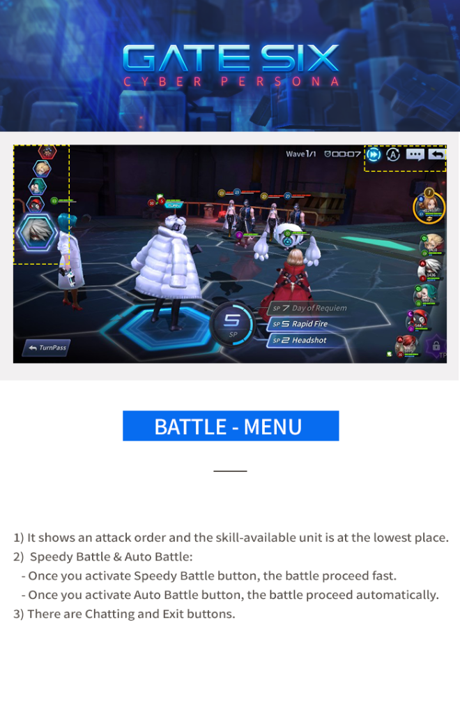 GATESIX: Game guide - Battle - Menu image 1