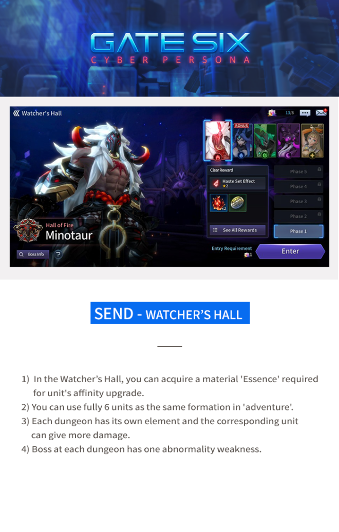 GATESIX: Game guide - Send - Watcher's Hall image 1