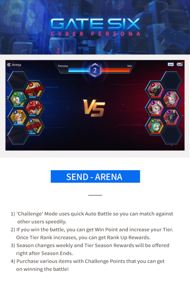 GATESIX: Game guide - Send - Arena image 3