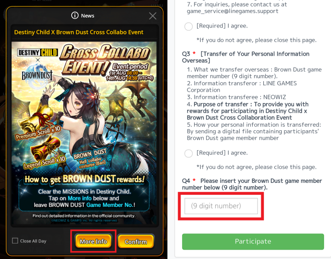 DESTINY CHILD: PAST NEWS - How to participate Destiny Child x Brown Dust Event image 7