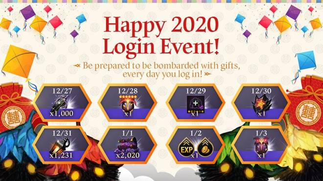 HEIR OF LIGHT: Event - [Event] Happy 2020 Login & All Awakening Dungeon Open Event (12/27/19 ~ 1/5/20 CST) image 1