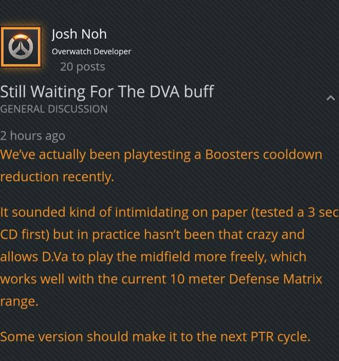 Overwatch: General - DVA is getting buffed :D image 1