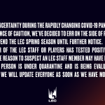 Both LCS and LEC is suspending due to coronavirus