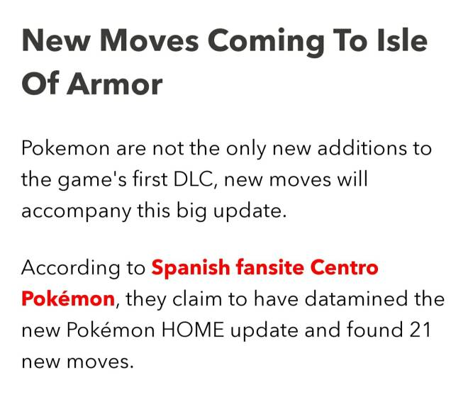 Pokemon: General - Isle of Armor Info #1: 21 NEW Moves??? image 3