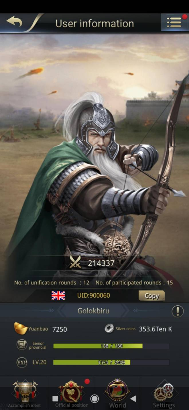 Three Kingdoms RESIZING: Limited General Board [Huang Zhong], END - Golokbiru / 900060 / this is the correct old man  image 2