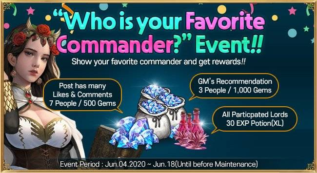"""VERSUS : REALM WAR: Community Event(End) - """" Who is your favorite commander?"""" Event image 6"""