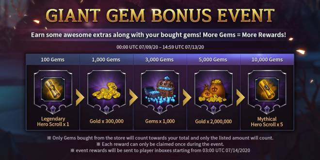 Along with the Gods: Knights of the Dawn: Events - GIANT GEM BONUS EVENT image 1