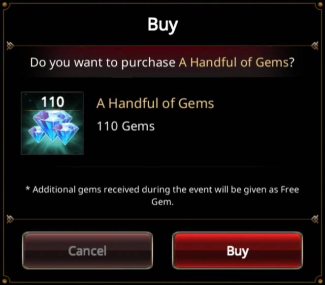 VERSUS : REALM WAR: In-Game Event - 'Gems 1+1' Unlimited Purchase Event! image 9