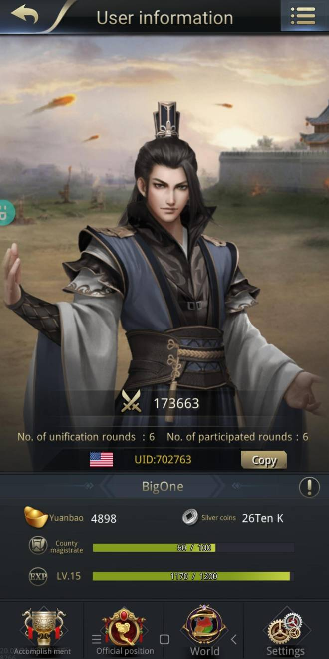 Three Kingdoms RESIZING: Limited General Board [Yuan Shao], END - Nice Game Ever ♥️♥️♥️ Nick Name : BigOne UID               : 702763 Channel      : 07 image 2