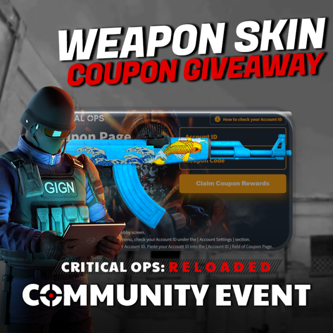 ENG Critical Ops: Reloaded: Event - [Event] Weapon Skin Giveaway! #3 image 1