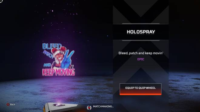 """Apex Legends: General - 3rd epic - """"Bleed, patch and keep movin'"""" - Holospray image 1"""