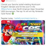 Mario Tennis Ace North America Open November 2020 Tournament!