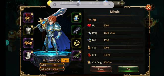 Element Blade: - Player Level 30 - Nickname: Mimic UID:60R8J1Q8 image 1