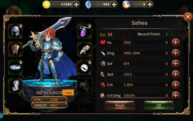 Element Blade: - Player Level 30 - Nick Name : Sothea UID: 611CAGCD image 1