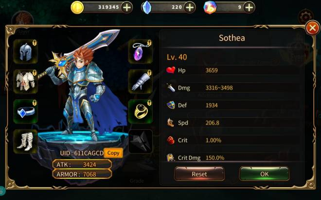Element Blade: - Player Level 30 - Nick Name: Sothea UID: 611CAGCD lvl 40 image 1