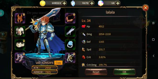 Element Blade: - Player Level 30 - Nickname: lalala UID: 62N92IF6 image 1