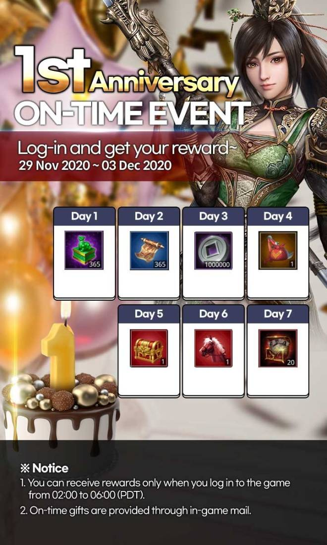 Three Kingdoms RESIZING: Event - [Event] 1st Anniversary On-Time Event image 1