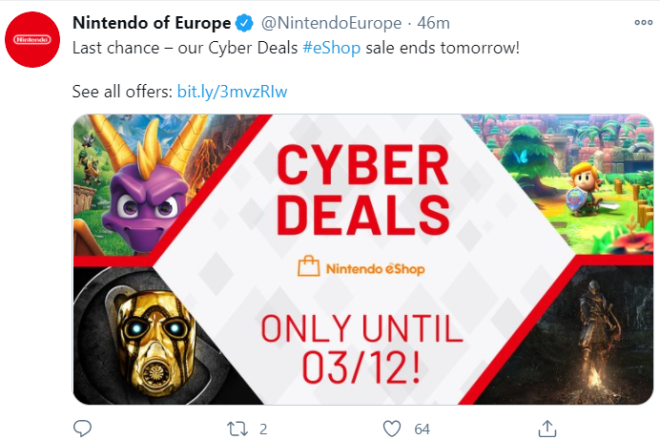 Off Topic: General - Nintendo Switch eshop Cyber Deals Ends tomorrow!!  image 1