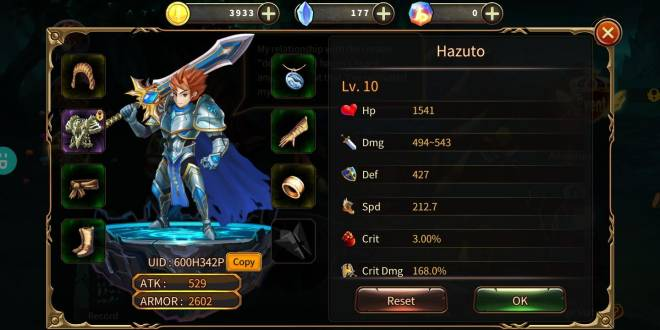 Element Blade: - Player Level 10 - UID: 600H342P [Player Level 10] image 3