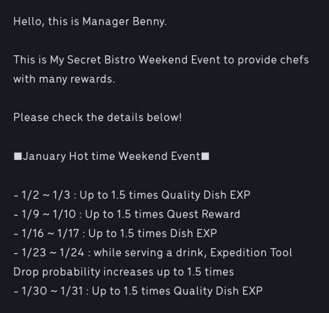 My Secret Bistro:  - Strategies & Tips - Hot Time Weekend Event 1st on January 2021 image 3