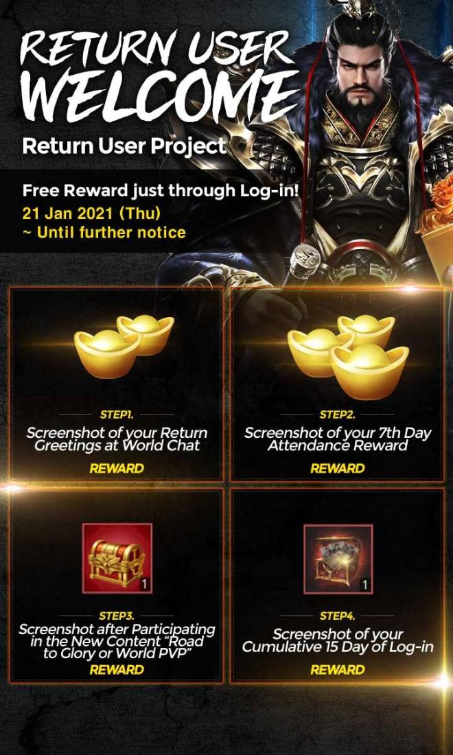 Three Kingdoms RESIZING: Event - [EVENT] Return User Settlement Project (Until Further Notice) - Notice has been changed image 27