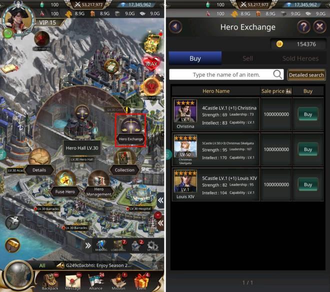 VERSUS : REALM WAR: Game Guide - ▣ Hero Exchange image 1