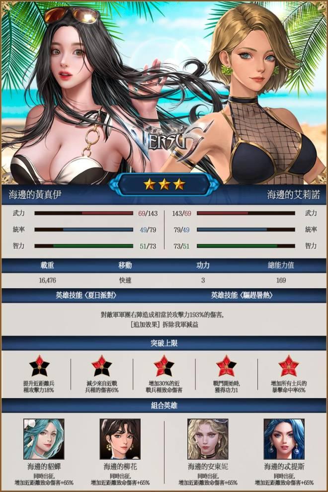 VERSUS : REALM WAR [TW]: Announcement - 夏日活動海邊英雄介紹 image 5