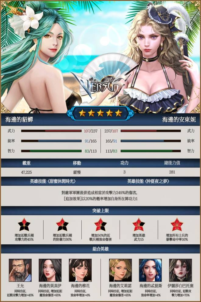 VERSUS : REALM WAR [TW]: Announcement - 夏日活動海邊英雄介紹 image 3